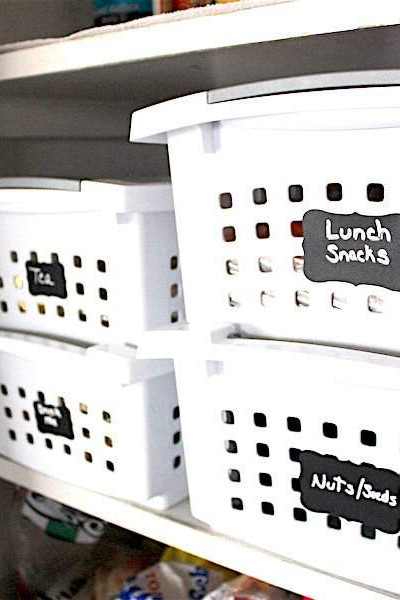 Increase vertical storage in the pantry using stackable baskets | Refined Rooms