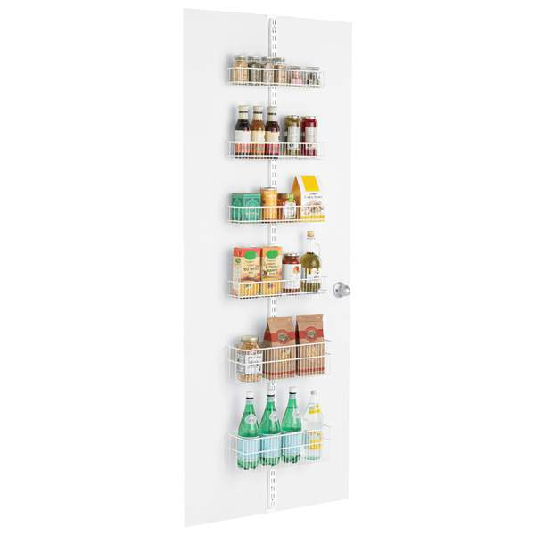 Take advantage of vertical storage space with a door rack storage system | Refined Rooms