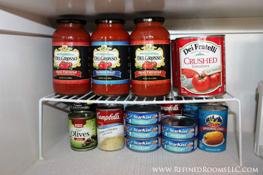 Maximize Vertical Storage Space in the pantry with a shelf helper | Refined Rooms