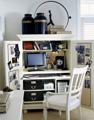 Small Space Home Office Solutions Repurposed Armoire at refinedroomsllc.com