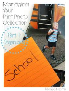 "print photo with index card. Text ""How to Organize Your Print Photo Collection: Part 1 Organizing""."