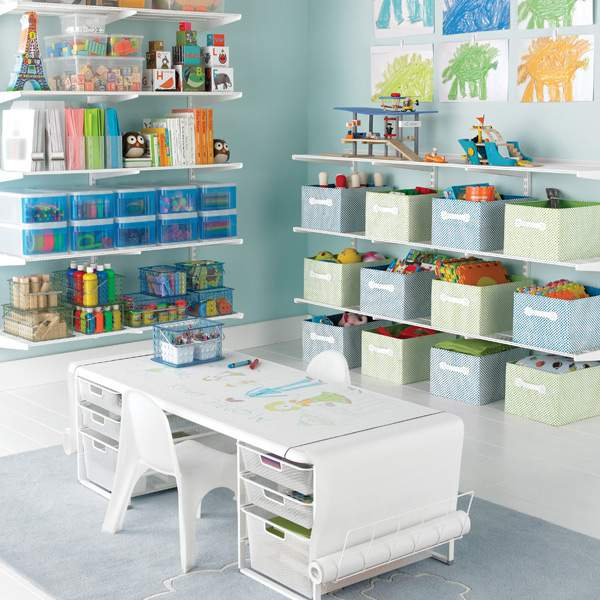 Elfa Storage System in Kids Playroom @ refinedroomsllc.com