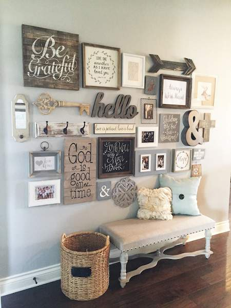 Come see the unique photo display ideas I'm sharing over on the blog, including this lovely mixed photo/accessory gallery wall!