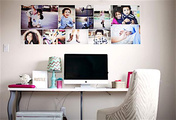 Come see the unique photo display ideas I'm sharing over on the blog, including modern photo wallpaper collage