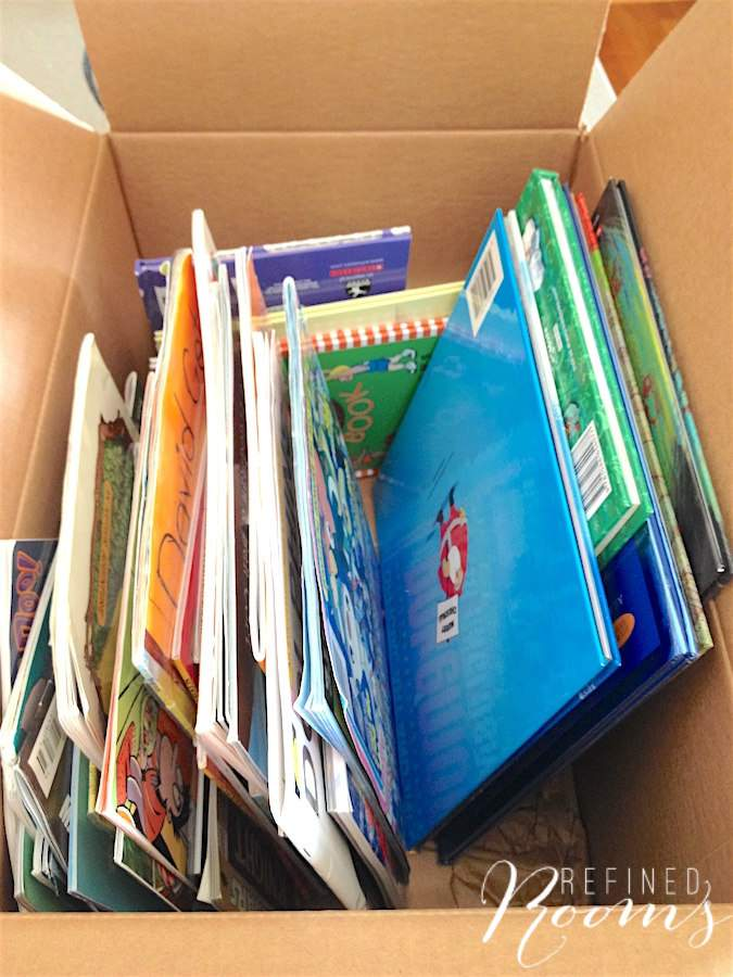 Box of children's books boxed up and ready for donation.