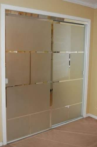 Solutions for outdated mirrored closet doors via Refined Rooms - frosted design