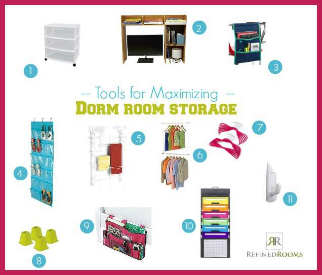 maximizing dorm room storage with this organization product round-up from Refined Rooms