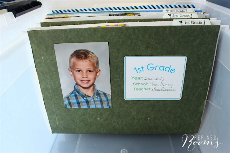 Create a simple system for Organizing School Memorabilia using file folders via Refined Rooms