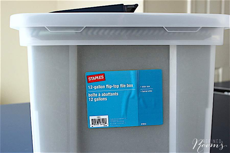 Use Flip Top File Totes for Organizing School Memorabilia - Click here to learn about this simple system via Refined Rooms