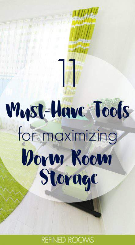Off to college? Get these MUST HAVE organization tools for maximizing dorm room storage! #dormroom #collegedorm #dormstorage #organizingproducts #storageproducts #RefinedRooms