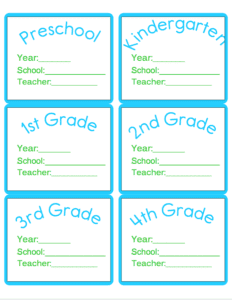 Download a set of your very own labels for organizing school memorabilia at Refined Rooms