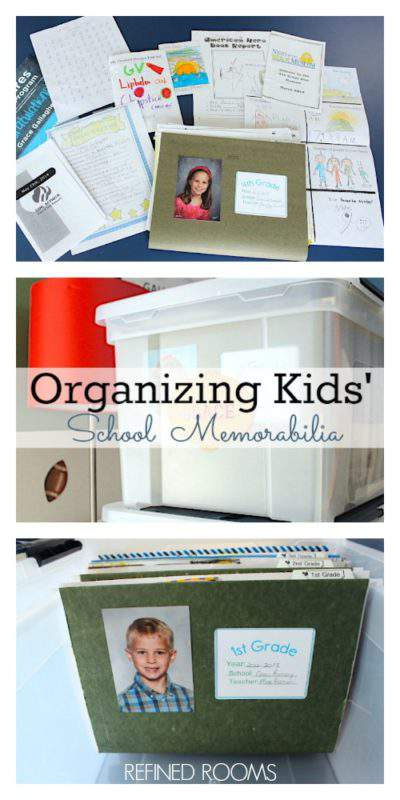 Got school paper clutter? Learn how to set up a simple system for managing kids' school memorabilia