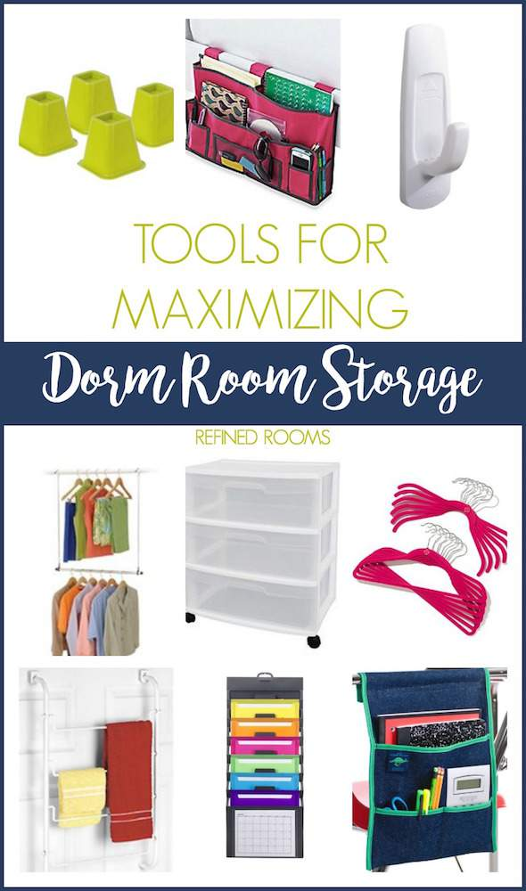 Check out this round up of tools for maximizing dorm room storage at the Refined Rooms Blog