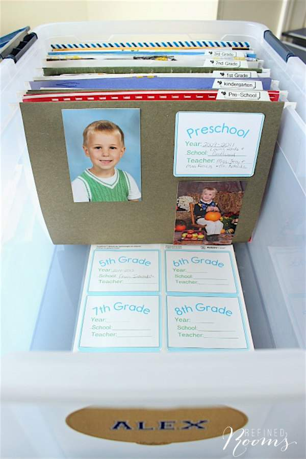 Learn about this simple system for organizing school memorabilia and download a set of school folder labels via Refined Rooms