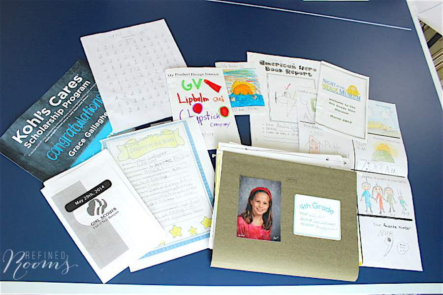 learn my golden rule for what to keep when organizing school memorabilia - click here!