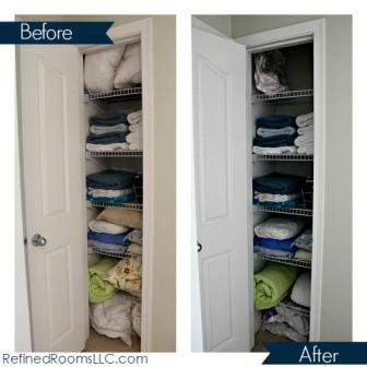 Spring Coat Closet Declutter - Linen Closet Before and After