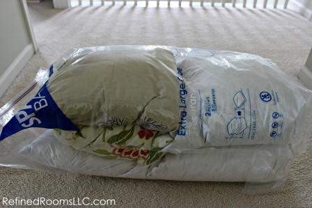 Spring Coat Closet Declutter - Space Bag Pillows