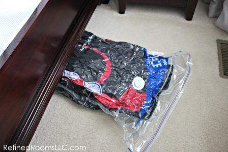 Spring Coat Closet Declutter - Ziploc Space Bag Under Bed 1
