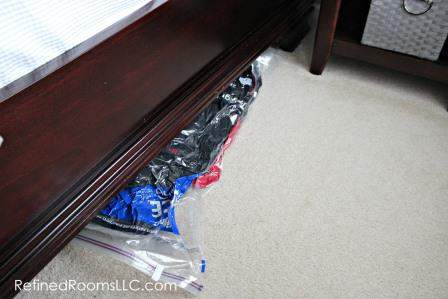 Spring Coat Closet Declutter - Ziploc Space Bag Under Bed 2