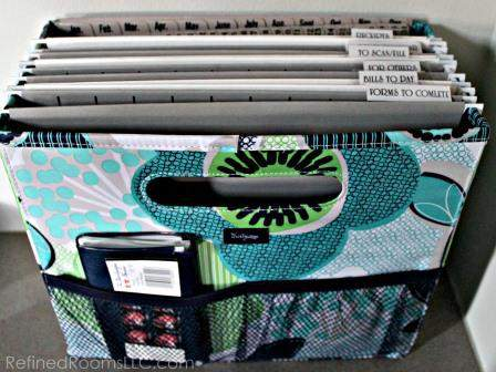 organizing mail - the ThirtyOne Fold and File Tote is the perfect container for your paper action file system @ RefinedRoomsLLC.com