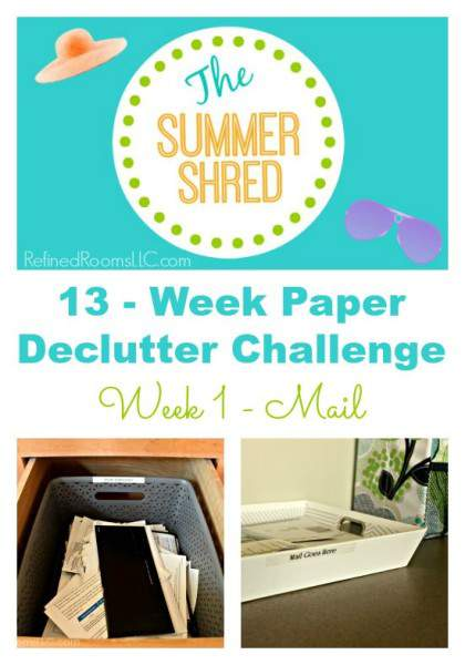 Learn the basic steps for organizing mail in this 13-Week Paper Declutter Challenge @ Refined Rooms