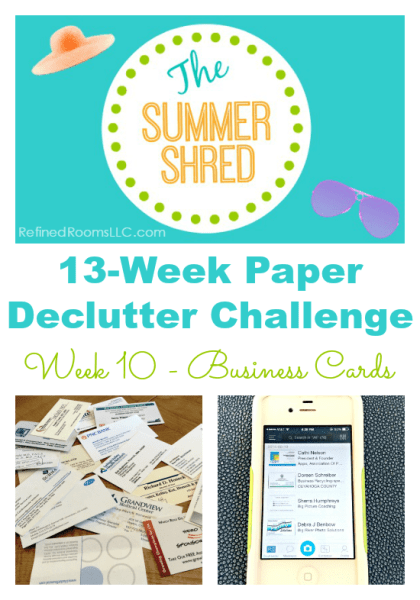 Organizing Business Cards in the Summer Shred Paper Declutter Challenge @ RefinedRoomsLLC.com