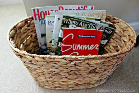 Organizing Catalogs & Magazines as part of the Summer Shred Paper Declutter Challange @ RefinedRoomsLLC.com