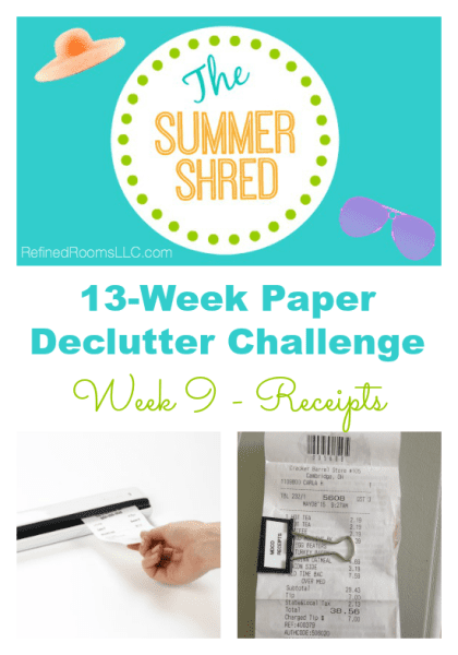 Organizing Receipts via the Refined Rooms Summer Shred Paper Declutter Challenge @ Refinedroomsllc.com