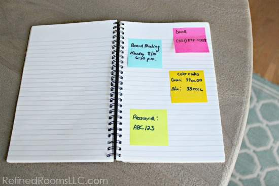 organizing lists and notes via the Summer Shred Paper Declutter Challenge @ RefinedRoomsLLC.com