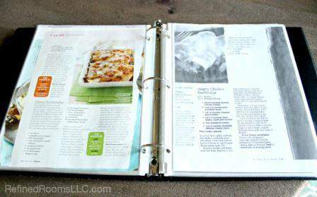 organizing recipes in the Summer Shred Paper Declutter Challlenge @ RefinedRoomsLLC.com