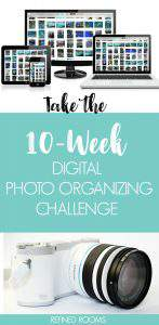 "collage of digital camera and screens of digital photo thumbnails - text ""take the 10 week digital photo organizing challenge""."