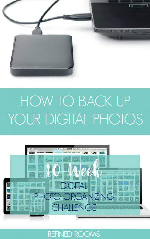Learn how to backup your digital photos as part of the Digital Photo Organizing Challenge | #photoorganizing #digitalphotos