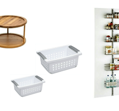 Collage of kitchen organization products.