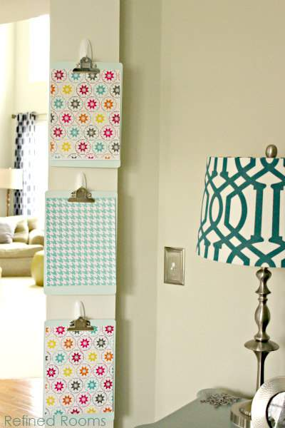 organize with clipboards - DIY Paper organization using clipboards and Command Hooks @ refinedroomsllc.com