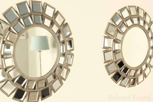 Target Radial Mirrors in Dining Room Makeover Reveal @refinedroomsllc.com