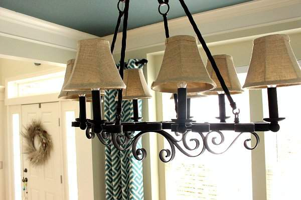 Ballard Designs Audincourt Chandelier in Dining Room Makeover Reveal @refinedroomsllc.com