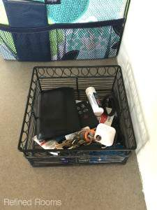 Use a basket in your household dropzone for keys wallets and phones @refinedroomsllc.com