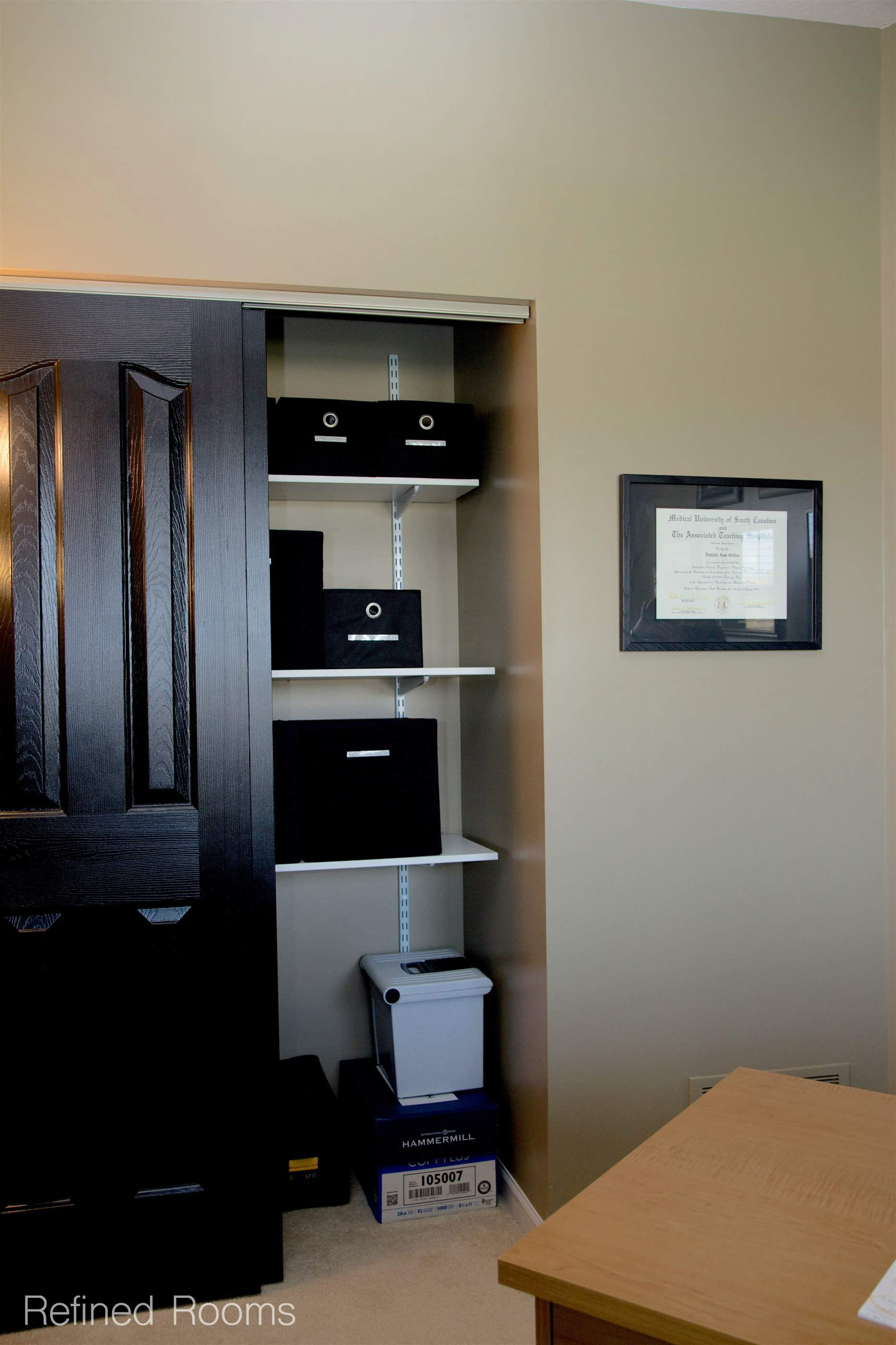 Organize & maintain your home office - adding adjustable shelving to a home office closet @ refinedroomsllc.com