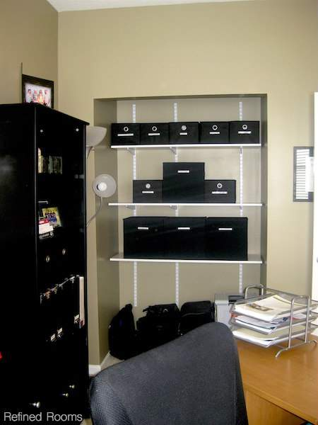 adding adjustable shelving to a home office closet @refinedroomsllc.com