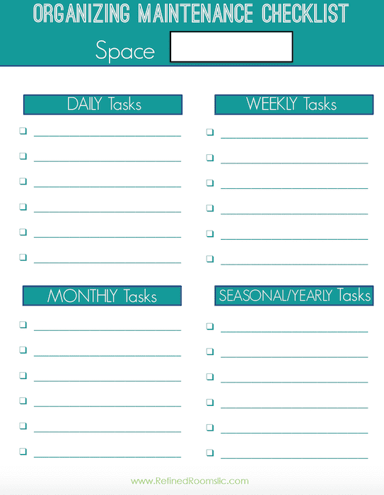 I Ve Created A Free Organizing Maintenance Checklist Printable For You To Jot Down Those Recurring Tasks Typical Home Office
