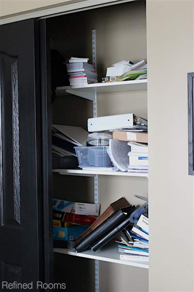 organize & maintain your home office - Use containers to subdivide office supplies when organizing your home office @ refinedroomsllc.com