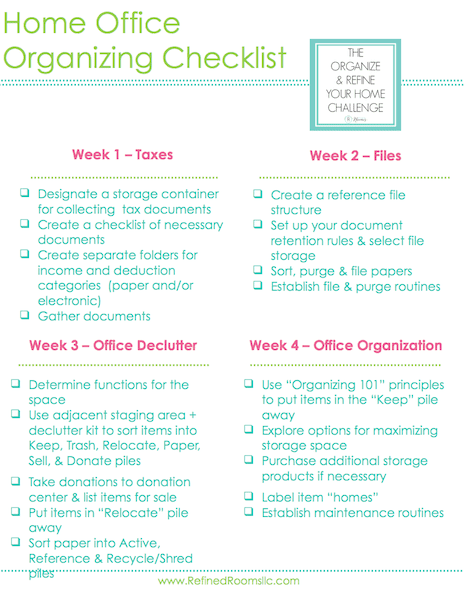 Home office organizing checklist