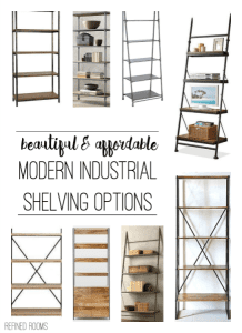 A roundup of gorgeous modern industrial shelving options @ refinedroomsllc.com