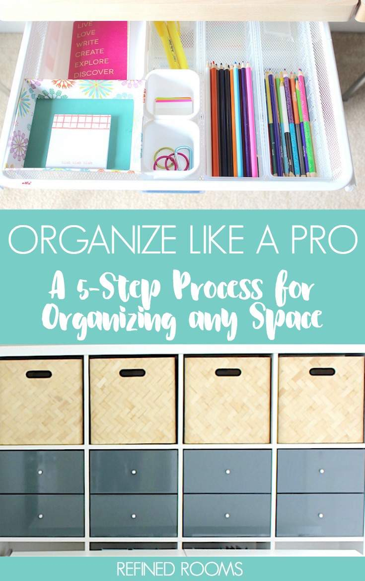 Learn this professional organizers' no-fail process for organizing any space in your home | #organizing #homeorganizing #homeorganization #organizingtips #declutteringtips #organizingprocess #organizingmethod #professionalorganizer #RefinedRooms