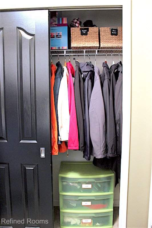 hall closet organization: use containers to store like items together @ refinedroomsllc.com