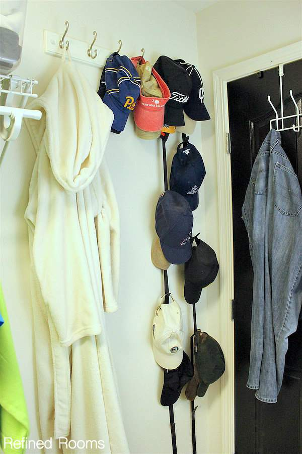 Using hooks for extra storage in your master closet organization project | Refined Rooms