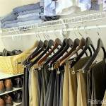 Use double hang space and consistent hangers in your master closet organization project | Refined Rooms