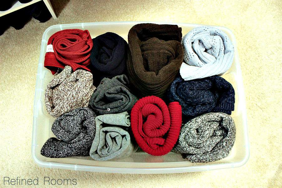 Konmari sweater storage in your master closet organization project | Refined Rooms