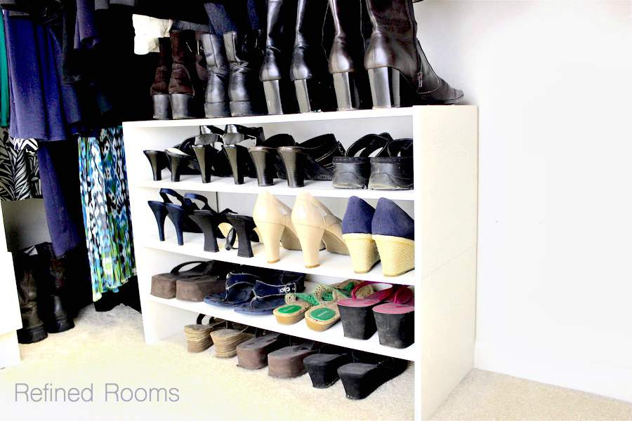 Stackable shoe organizers for master closet organization | Refined Rooms