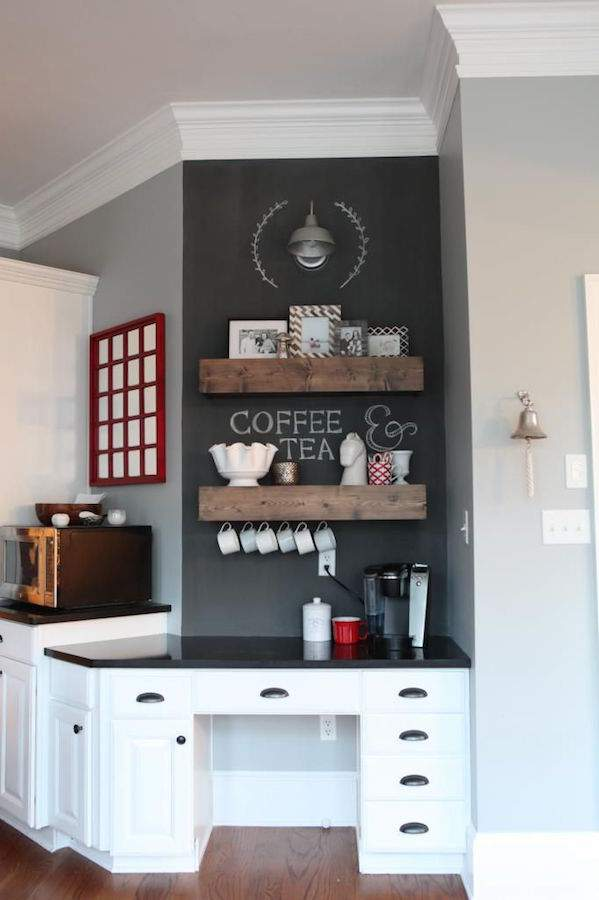 Kitchen counter top organization - create a beverage station via Refined Rooms blog
